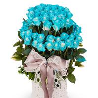 파란장미 2단바구니